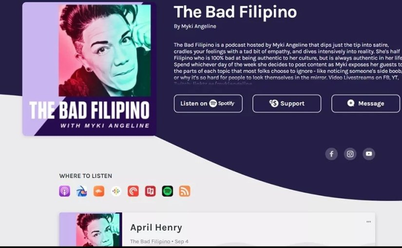 [REMINDER] Interview with Stephanie Gayle on The Bad Filipino Live Show and Podcast, Hosted by Myki Angeline (Friday, September 18 at 5PM EDT/2PMPST)